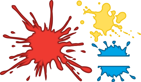 vector format drawing of various paint splashes.